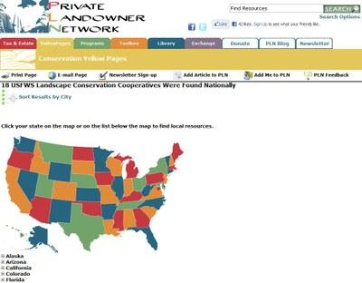 Private Landowner Network - National LCCs Map