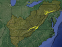 Regional-scale corridors that connect large cores. Three were identified and mapped: 1) Northern Cumberland-Blue Ridge (connects South Blue Ridge to Central Appalachian core to the north); 2) Southern Cumberland-Blue Ridge (connects Southern Blue Ridge to Central Appalachian Core to south); 3) Northern Sandstone Ridges (connect Central Appalachian-Allegheny Regional core to Delaware Water Gap-Catskills)