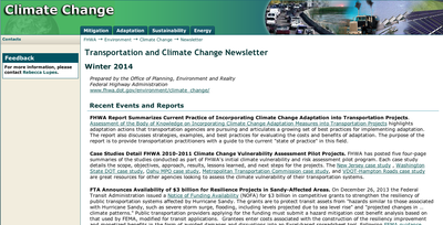 FHWA Sustainable Transportation and Climate Change Newsletter