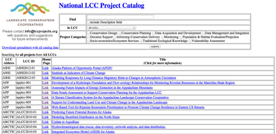 National LCC Project Catalog