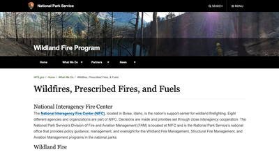 National Park Service Wildfires, Prescribed Fires, and Fuels