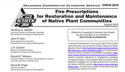 Fire Prescriptions for Restoration and Maintenance of Native Plant Communities