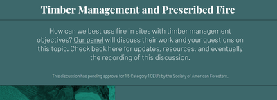 Timber Management and Prescribed Fire