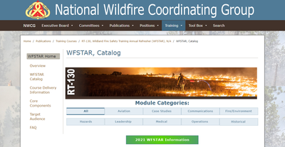 Wildland Fire Safety Training Annual Refresher Catalog