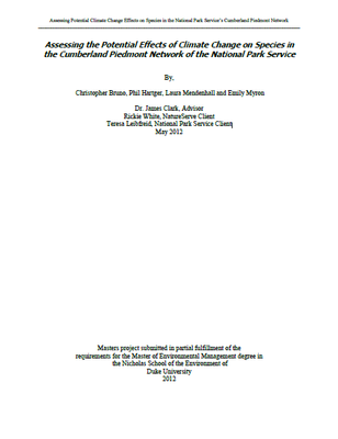 Assessing the Potential Effects of Climate Change on Species in the Cumberland Piedmont Network of the National Park Service