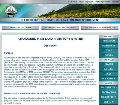 Abandoned Mineland Acid Mine Drainage (AML AMD) Inventory