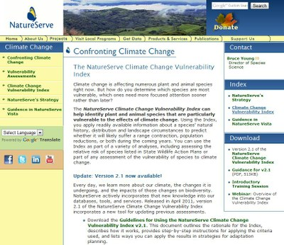 NatureServe Climate Vulnerability Index