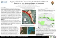 Using remote sensing and GIS-based data.  Methods of wetland identification are advancing from remote sensing and Geographic Information System (GIS) technology to assist in land management decisions. We developed a map that consisted of a multi- layered wetland ranking system to identify areas of potential wetlands on a large scale.  The map was constructed from wetland predictors National Land Cover Database (NLCD), Vegetation Community data (from National Park Service/NatureServe), slope percentage, and soil. The ranking system's potential wetland scores  were ground-truthed with wetland delineation procedures inside NPS' C&O Canal National Historical Park.  Vegetation community data were the strongest predictor for wetland identification followed by NLCD.  Slope and soil were not strong predictors of wetlands but still considered potentially useful ancillary data.  This research indicates the strength in identifying potential wetlands based on NPS's vegetation community data.  Future studies of more  comprehensive models that include ancillary data may offer expansion of the ranking system to other parks.