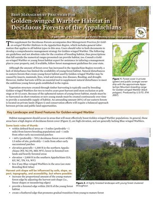 Best Management Practices for Golden-winged Warbler Habitat in Deciduous Forests of the Appalachians