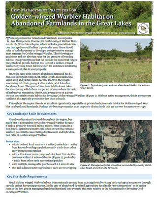 Best Management Practices for Golden-winged Warbler Habitat on Abandoned Farmlands in the Great Lakes