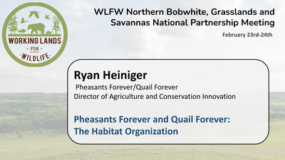 Pheasants Forever and Quail Forever: The Habitat Organization: Ryan Heiniger