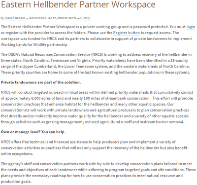 Eastern Hellbender Partner Workspace