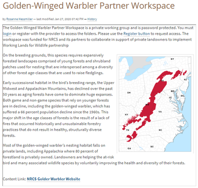 Golden-Winged Warbler Partner Workspace