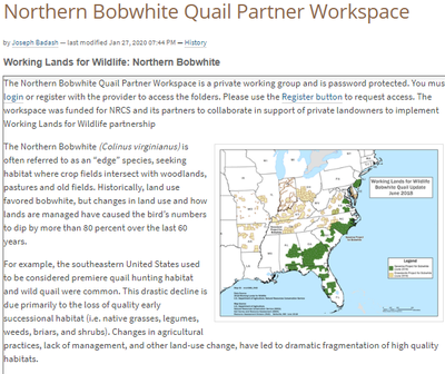 Northern Bobwhite Quail Partner Workspace