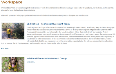Wildland Fire Workspaces