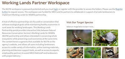 Working Lands for Wildlife Partner Workspace