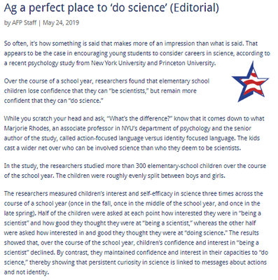 Ag a perfect place to 'do science' (Editorial)