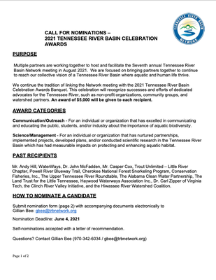 Call for Nominations – 2021 Tennessee River Basin Celebration Awards