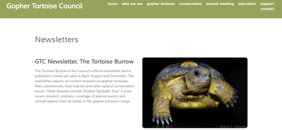 Gopher Tortoise Council Newsletter-The Tortoise Burrow