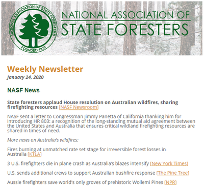 National Association of State Foresters Weekly Newsletter January 24 2020