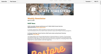 National Association of State Foresters Weekly Newsletter April 23, 2021