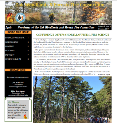 Oak Woodlands & Forest Fire Consortium Newsletter October, 2019