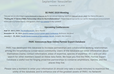 Southeast Partners in Amphibian and Reptile Conservation Newsletter September 2019