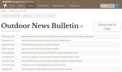 Wildlife Management Institute Outdoor News Bulletin