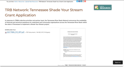 Funding for TN Partners | Riparian Restoration | Submission deadline: June 15