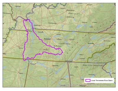 Lower Tennessee River Basin Boundary
