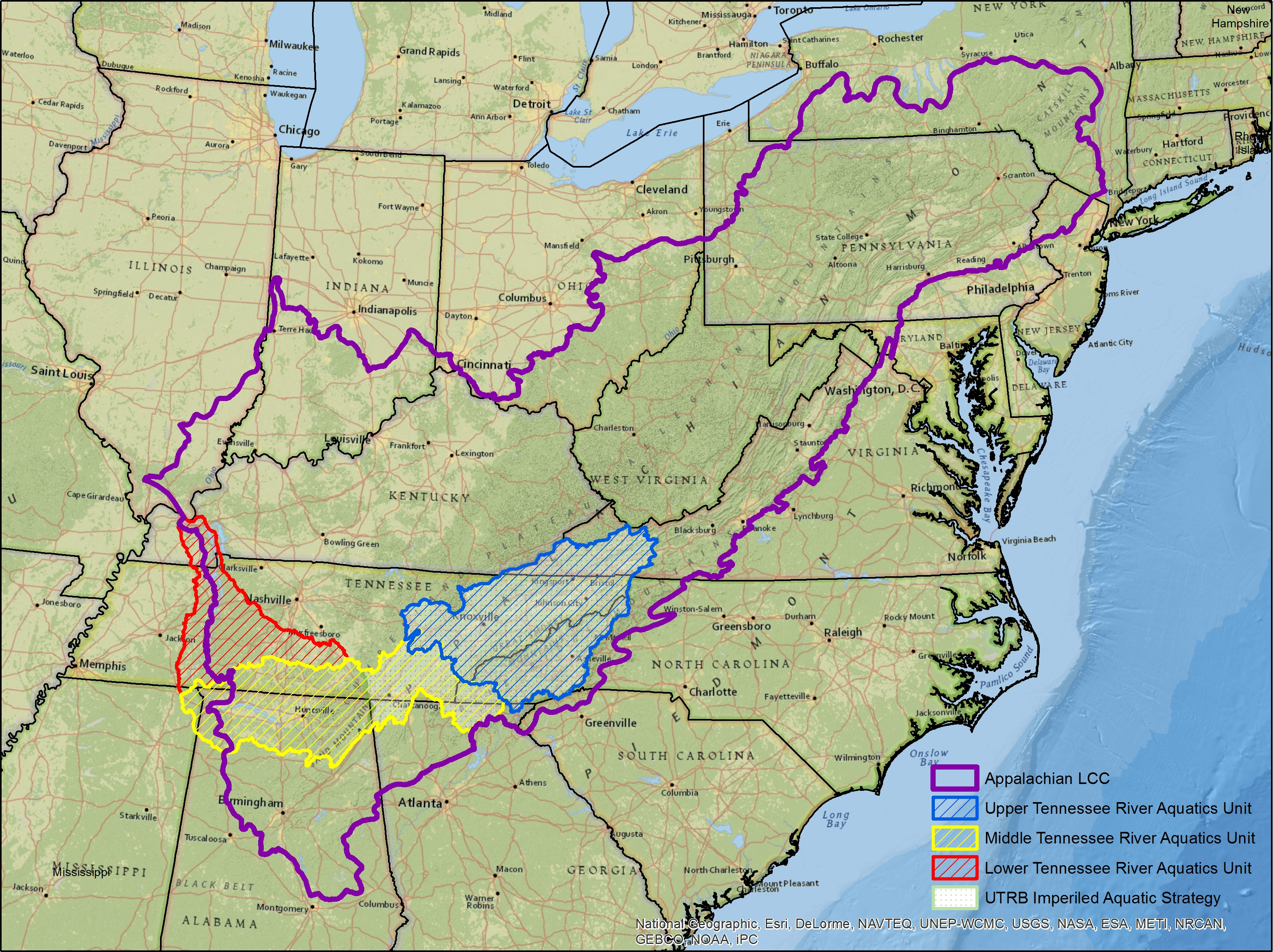 Tennessee River Basin Aquatic Units Map Tennessee River Basin - Tn river map