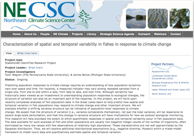 Characterization of spatial and temporal variability in fishes in response to climate change