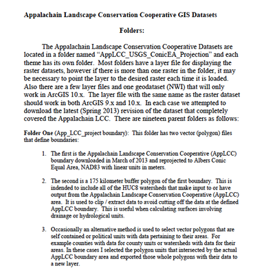 Appalachain Landscape Conservation Cooperative GIS Datasets